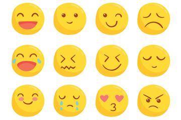 16款可爱圆脸表情设计矢量素材