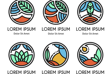 6款手绘自然元素标志乐虎国际线上娱乐图
