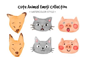 9款可爱动物表情矢量素材