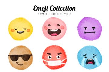 9款水彩绘圆脸表情矢量素材
