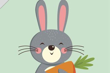 卡通抱胡萝卜的兔子矢量图