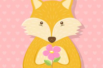 卡通捧花狐狸爱的卡片矢量图