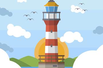 创意红白条纹灯塔风景矢量素材