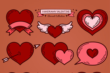 9款手绘红色爱心矢量素材