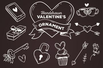 15款粉笔手绘情人节物品矢量素材