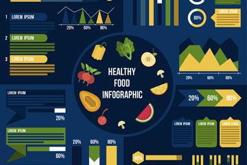彩色健康食物信息图矢量素材