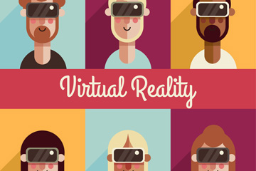 6款创意戴VR头显的人物头像矢量