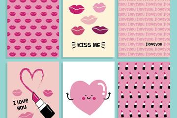 6款可爱情人节卡片矢量素材