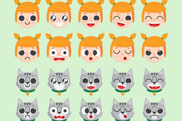 10款可爱女孩和10款猫咪表情乐虎国际线上娱乐