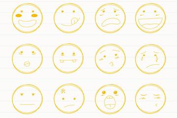 16款手绘可爱圆形表情矢量图