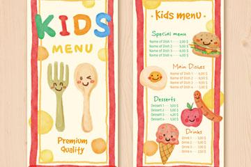 可爱餐具和食物儿童菜单设计矢量图