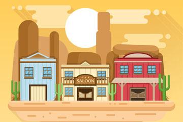 创意美国西部小镇风景矢量图