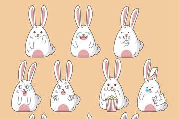 10款可爱表情白兔矢量素材