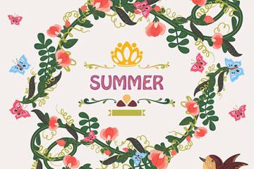 彩绘夏季花环和鸟矢量素材