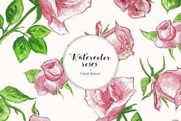 水彩绘粉色玫瑰无缝背景矢量图