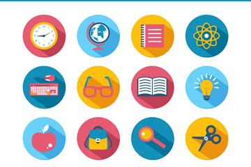 16款彩色教育元素图标矢量素材