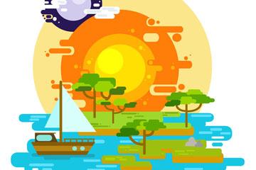 扁平化太阳与湖泊风景矢量素材