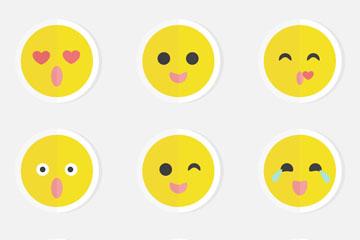 9款黄色圆脸表情贴纸矢量图