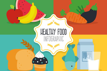 4组创意健康食物设计矢量素材