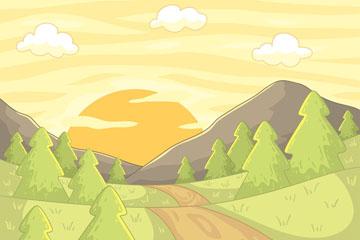 彩绘山区夕阳风景矢量素材