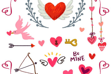 15款彩绘情人节元素矢量素材