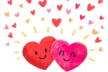 水彩绘情人节爱心情侣矢量图