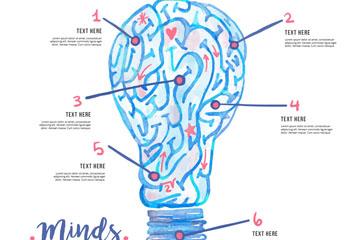 创意大脑灯泡思维信息图矢量图