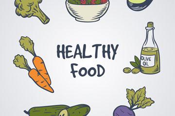 7款彩绘健康食物矢量素材