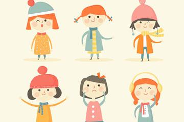 6款可爱冬季女孩矢量素材