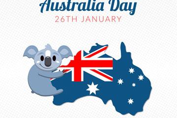 可爱澳大利亚日考拉和地图矢量素材