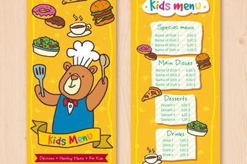 可爱熊厨师儿童菜单矢量素材