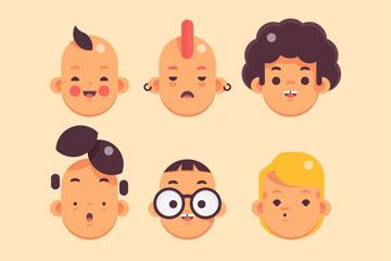 9款创意男子头像矢量素材
