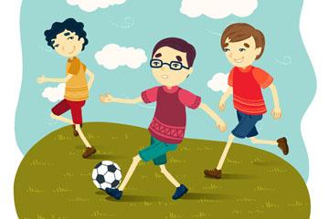 3个踢足球的男孩矢量素材