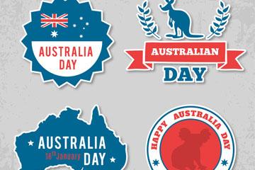 4款创意澳大利亚日标签矢量图