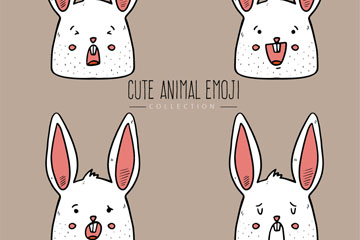 4款手绘白兔头像乐虎国际线上娱乐乐虎国际