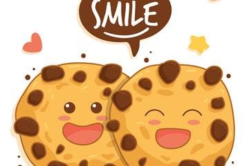可爱笑脸曲奇情侣矢量图