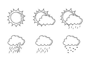 9款手绘云天气图标设计矢量素材
