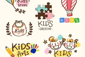 6款彩绘儿童元素标志矢量图