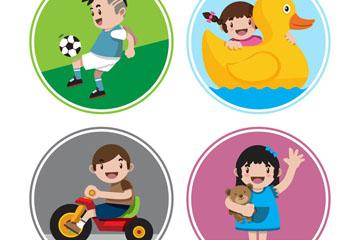 4款可爱玩耍的儿童矢量素材