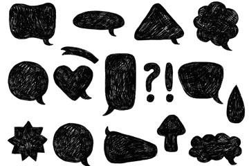 14款手绘黑色语言气泡乐虎国际线上娱乐乐虎国际