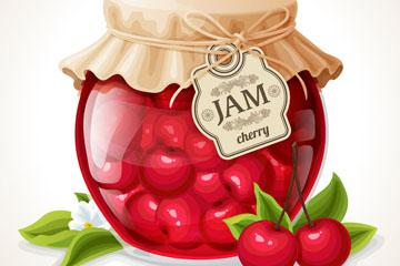 美味玻璃罐装樱桃果酱矢量素材