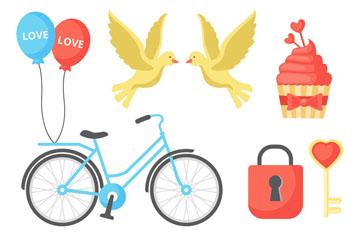 8款彩色爱的装饰物矢量素材