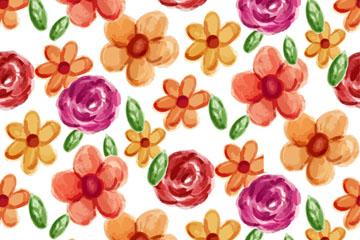 水彩绘花朵无缝背景矢量素材