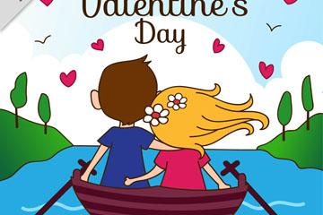 卡通情人节划船的情侣背影乐虎国际线上娱乐乐虎国际
