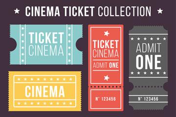 5款彩色创意单人电影票矢量素材