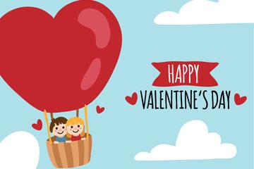 可爱情人节坐热气球的情侣乐虎国际线上娱乐乐虎国际
