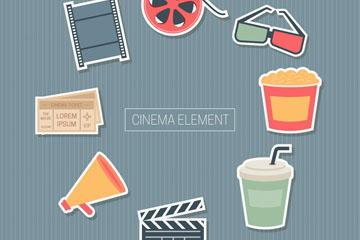 8款彩色电影元素贴纸乐虎国际线上娱乐图