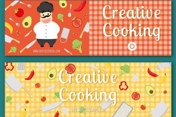 2款可爱创意烹饪元素banner矢量