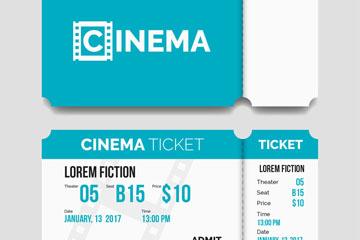 蓝色单人电影票设计矢量素材