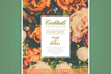 复古花卉鸡尾酒餐厅宣传单矢量图